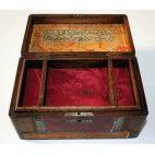 Coffret à bijoux en bois et cuir, ancien