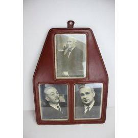 Porte-photo en cuir, ancien
