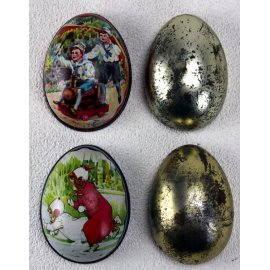 Œufs en métal décoré, anciens