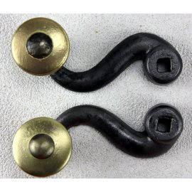 Poignées en acier et laiton, anciennes