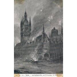 1915 - Ypres, les Halles en feu